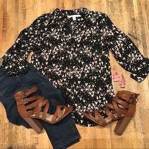 LC black heart print long sleeve blouse